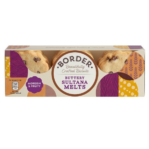 Buttery Sultana Melts Luxury Cookies - Border Biscuits 150g